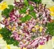 Салат из краснокочанной капусты с сыром эдам и грецкими орехами